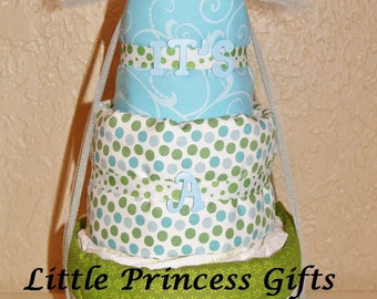 Baby Boys 3 tier diaper cake in Blue and Green