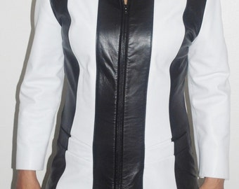 Vintage Erez Black & White Lambskin Leather Jacket Womens Size 8