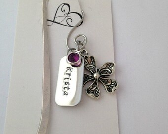 Personalized Shepherds Hook Book Mark in Beach, Dragonfly or Flower Theme