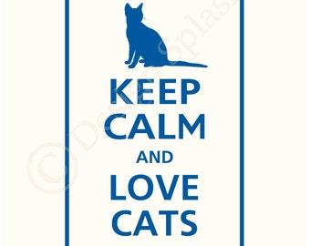 Keep Calm and LOVE CATS Vinyl Wall Decal Wall Art Sticker KC-116