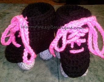 Baby Roller Skates Booties Pink Laces Black Grey Crochet Winter Outfit Newborn Boy Girl Halloween  Photo Prop Accessory