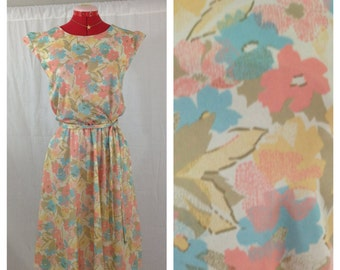 Pastel Blossom Day Dress 1980s S/M