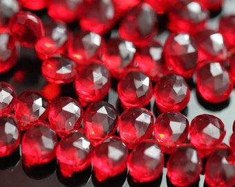 Ruby Red Quartz Faceted Pear Briolettes, 9 - 10 mm, Half Strand, 30 beads GM2236FP/10
