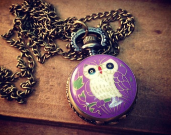 1 Pc PURPLE enamel Vintage Style Pocket Watch Necklace Owl Face Pocketwatch CHAININCLUDED (BB028)