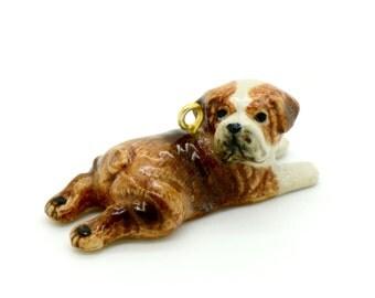 1 - Porcelain British Bulldog Pendant Animal Hand Painted Glaze Ceramic Animal Ceramic Dog Jewelry Supplies (CA182)