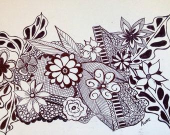 Original Black Ink pen  flower doodle drawing 5