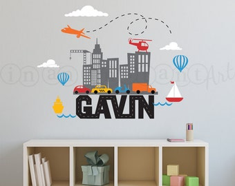 Wall Decals City Skyline with Car, Boat, Airplane Custom Name | Nursery, Children's Room Interior Design | In An Instant Art 001