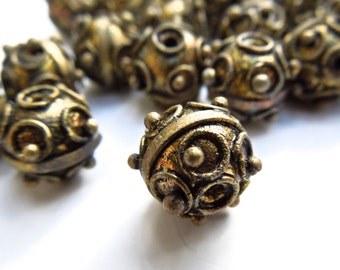 SUPPLY: 10 Ethnic Metal Centerpiece Beads - Metal Hollow Bead - 10mm - (7-A1-00003820)
