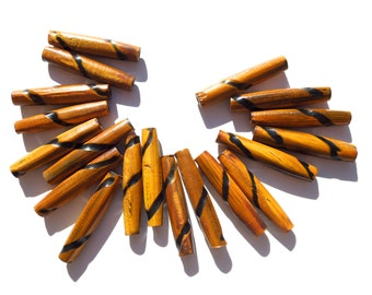 "SUPPLY: 18 Natural Rustic Amber Hair Pipe Horn Beads - 1.5"" - (6-C1-00003647) OS no"