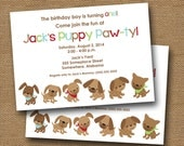 "Puppy Party Invitation Dog Puppy Birthday Party Invite DIY PRINTABLE Cute ""Puppy Pawty"" for Boy Red Blue Green & Brown"