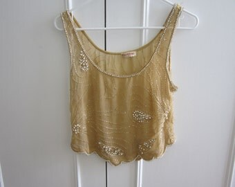 Vintage Cropped  Sheer Yellow Pearl Beaded Top