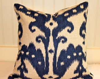 IN STOCK / Indigo Blue and Oatmeal Ikat Pillow Cover / 16 X 16 / Designer Pillow Cover