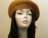 SALES - Crocheted Beret Hat - Boho Hat - Mesh Beret Hat - Slouch Beret Hat - Mustard Gold Beret - FREE UK delivery