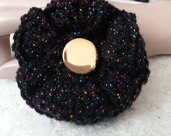 Sales - Crochet Flower Brooch - Crochet Flower Pin - Crochet Sparkle Flower - Flower Pin - Ruffled Flower Pin - FREE UK delivery