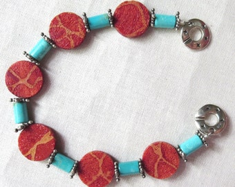 Sponge Coral, Natural Turquoise and Sterling Silver Bracelet