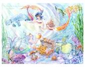 Mermaid Art Print, Mermaid Sisters, Mermaid Daughters with Seal, Manatee,Sea Turtles, Sunken Treasure, 11 x 13.5 inches art print