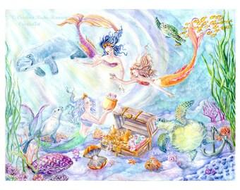 Mermaid Art Print, Mermaid Sisters, Mermaid Daughters with Seal, Manatee,Sea Turtles, Sunken Treasure, 11x14 inches art print