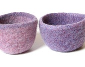 WOOLY FELTED Bowls - two felted nesting bowls - two-toned lilac and lavender