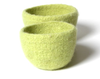 WOOLY FELTED BOWLS - two felted nesting bowls - lemon-lime, yellow-green
