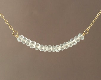 Clear Quartz Beaded Necklace available in gold, rose gold, or silver
