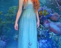 vintage silk cocktail gown /  sea blue green sheer organza and sequin mermaid dress / pride & prejudice regency inspired / Cotton bodice