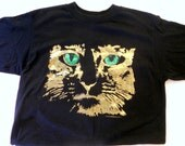 Vintage Black TSHirt Cat Shirt Green eyed Cat Black Tee Shirt Medium Short Sleeve