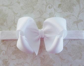 White Boutique Bow Headband - Baby Bow Headband - Baby Dedication - 4 inch Large Girls Twisted Boutique Bow Headband