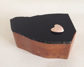 Wooden Box with Stone Lid - Glossy Black Stone with Pink Heart
