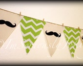 Mustache Banner - Party Banner-Little Man party banner-BRIGHT GREEN Chevron- Little Man Party