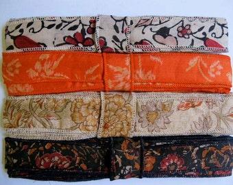Silk Sari Ribbon, Silk Trim, 4 colors,  E33
