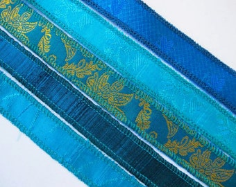 Blue Silk  Bracelet Ribbons, W228
