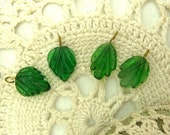 4 dark green pressed glass leaf bead  with brass wire hook 2 of each style