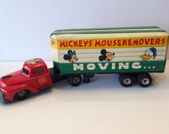 1950s Mickeys Mousekemover Moving Truck, Disneyana, Scarce Disney Toy, Linemar Toy, Friction Drive Truck, Mickey Mouse Collectible