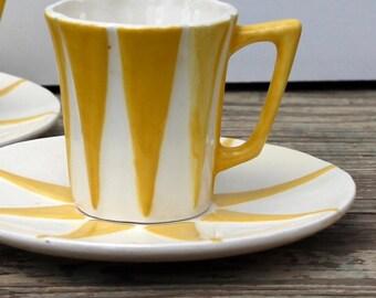 Sunburst Demitasse Espresso Cup and Saucer Pair, Tea Cups, Coffee Cups Child Size, Tea Set,Vintage