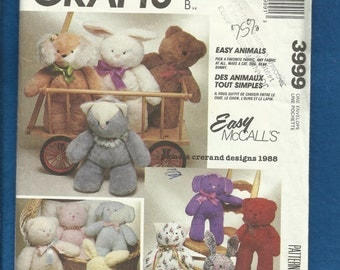 Vintage 1988 McCalls 3999 Cats Bunnies Puppies and Bears  all with Adorable Little Faces