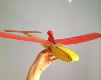 Vintage Model Red Yellow PLANE,  Model plane - home Decor for kids room, Handmade Retro Plane, Gift For Son Daughter, Model Airplane,