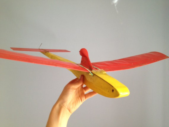 Vintage Model Red Yellow PLANE,  Model plane - home Decor for kids room, Handmade Retro Plane, Gift For Son Daughter, Model Airplane,