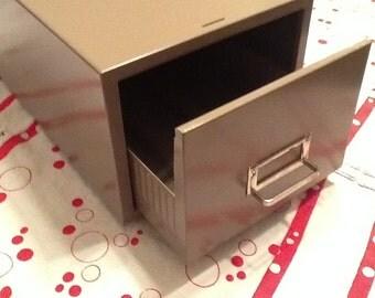 Retro Metal Filing Drawer Box