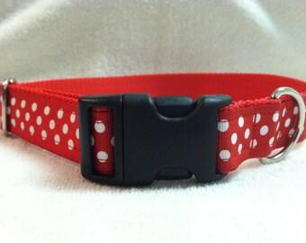 Custom Dog Collar in Red & White Polka Dots