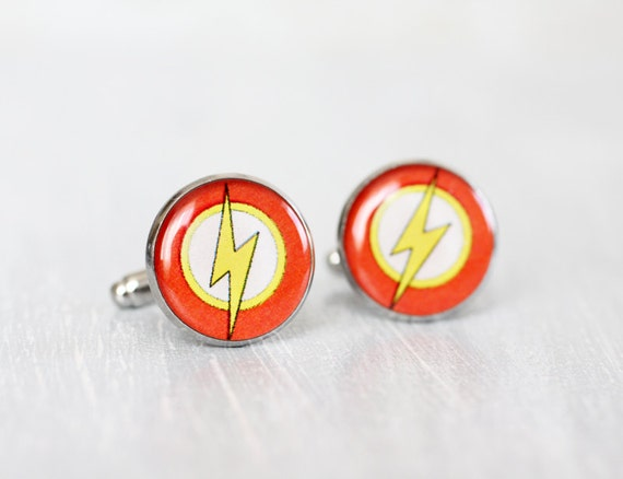Mens Cufflinks - Flash cuff links - Comic Superhero - Accessories for Men