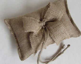 small bow natural Burlap ring bearer pillow