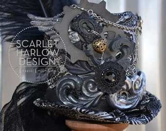 Jacquard Steampunk top hat - tea party - Mad Hatter - victorian - cosplay - costume.