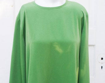 Blouse - 70s-80s Large Kelly Green Size 10 Loose Top