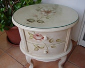 Vintage,hand-painted roses & magnolia,shabby chic,wooden night stand,bedside/table/drawers