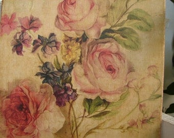 vintage roses, floral image/ print applied to natural wood & sealed-shabby roses sign