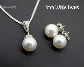 Bridesmaid Jewelry set pearl Bridesmaid Jewelry Wedding Set Swarovski Pearl Set White Pearl Jewelry Bridal Pearl Earrings Necklace Set
