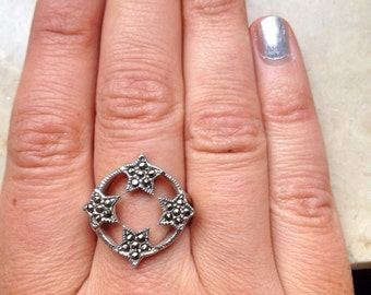 Four stars pyrites ring , sterling silver .925, Indian style