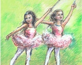 Ballerina dancers Ballet,  Nursery Art, print painting, girls  playroom children  green 8x10