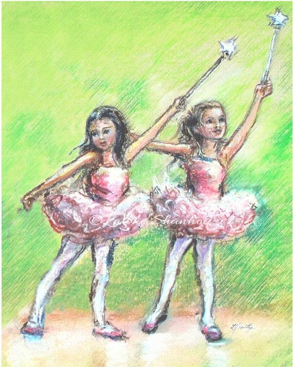Ballerina dancers Ballet,  Nursery Art, print painting, girls  playroom children  green 8x10