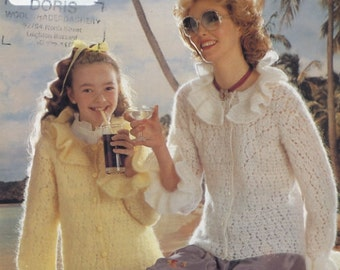 Lister-Lee Knitting Pattern C1654 For Mother and Daughter Crochet Cardigan